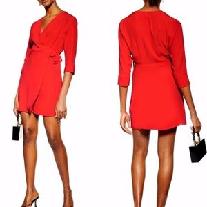 Topshop Wrap Mini Dress in Red